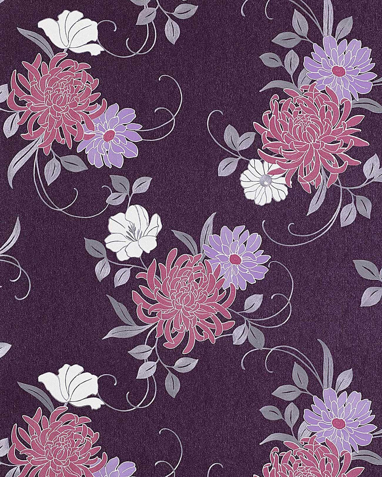 Blumen Tapete Edem   Hochwertige Gepragte Floral Blumentapete Violett Flieder Hell Lila Platin