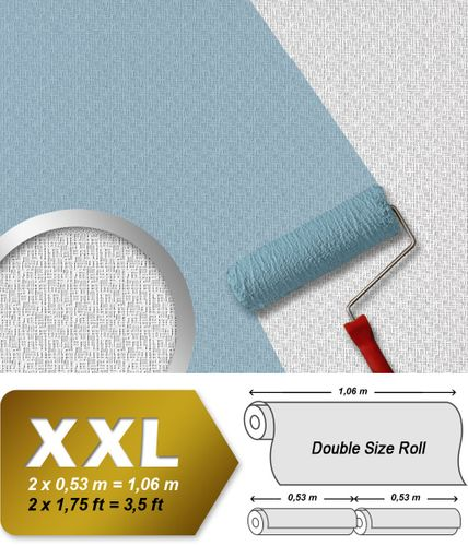 Wallpaper non woven wall covering EDEM 390-60 paintable XXL textured decor white