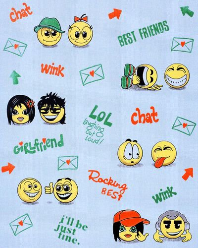Wall covering paper kids childrens wallpaper EDEM 037-22 Fun Manga Anime Chat Smiley blue yellow green  – Bild 1