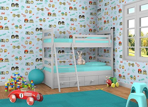 Wall covering paper kids childrens wallpaper EDEM 037-22 Fun Manga Anime Chat Smiley blue yellow green  – Bild 2