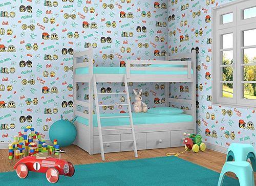 Kinderkamer behang baby behang EDEM 037-22 smiley blauw geel groen – Bild 2