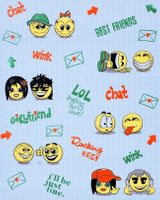 Wall covering paper kids childrens wallpaper EDEM 037-22 Fun Manga Anime Chat Smiley blue yellow green
