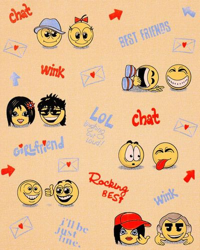 Wall covering paper kids childrens wallpaper EDEM 037-23 Fun Manga Anime Chat Smiley orange yellow violet  – Bild 1
