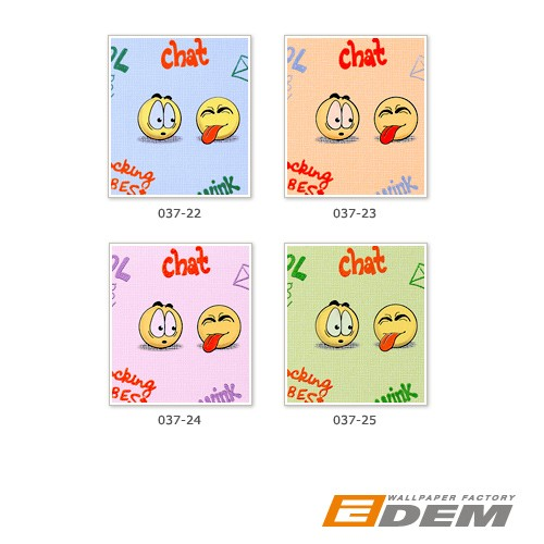 Wall covering paper kids childrens wallpaper EDEM 037-24 Fun Manga Anime Chat Smiley pink yellow lilac  – Bild 4