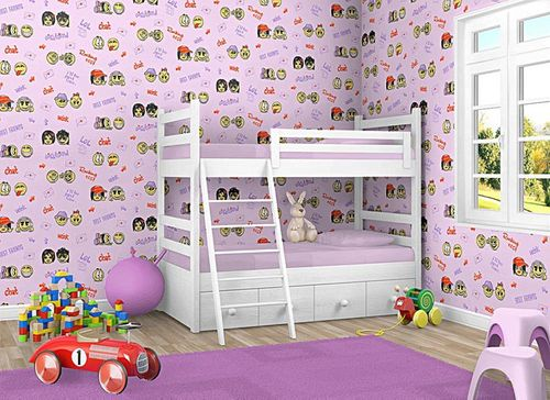 Wall covering paper kids childrens wallpaper EDEM 037-24 Fun Manga Anime Chat Smiley pink yellow lilac  – Bild 2