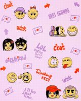 Wall covering paper kids childrens wallpaper EDEM 037-24 Fun Manga Anime Chat Smiley pink yellow lilac