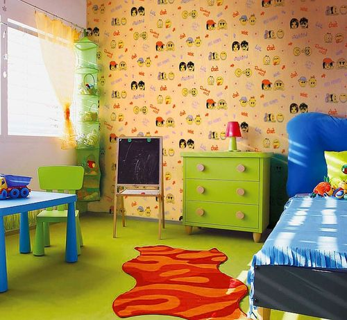 Wall covering paper kids childrens wallpaper EDEM 037-25 Fun Manga Anime Chat Smiley beige-green yellow green  – Bild 2