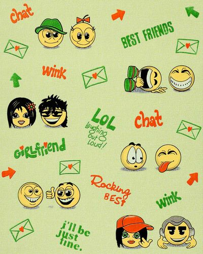 Wall covering paper kids childrens wallpaper EDEM 037-25 Fun Manga Anime Chat Smiley beige-green yellow green  – Bild 1