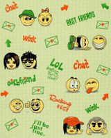 Wall covering paper kids childrens wallpaper EDEM 037-25 Fun Manga Anime Chat Smiley beige-green yellow green  001