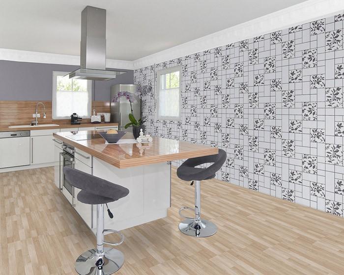 Papier peint moderne cuisine edem 146 20 bain atelier aspect carrelage gris c - Papier peint cuisine moderne ...