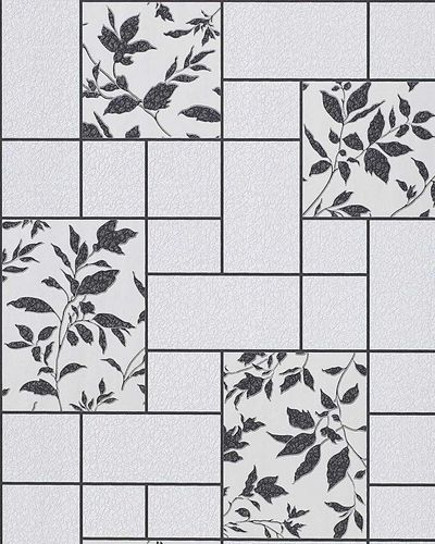 Wallpaper kitchen bath wall covering vinyl modern tile floral decor EDEM 146-20 light grey whitegrey anthracite  – Bild 1