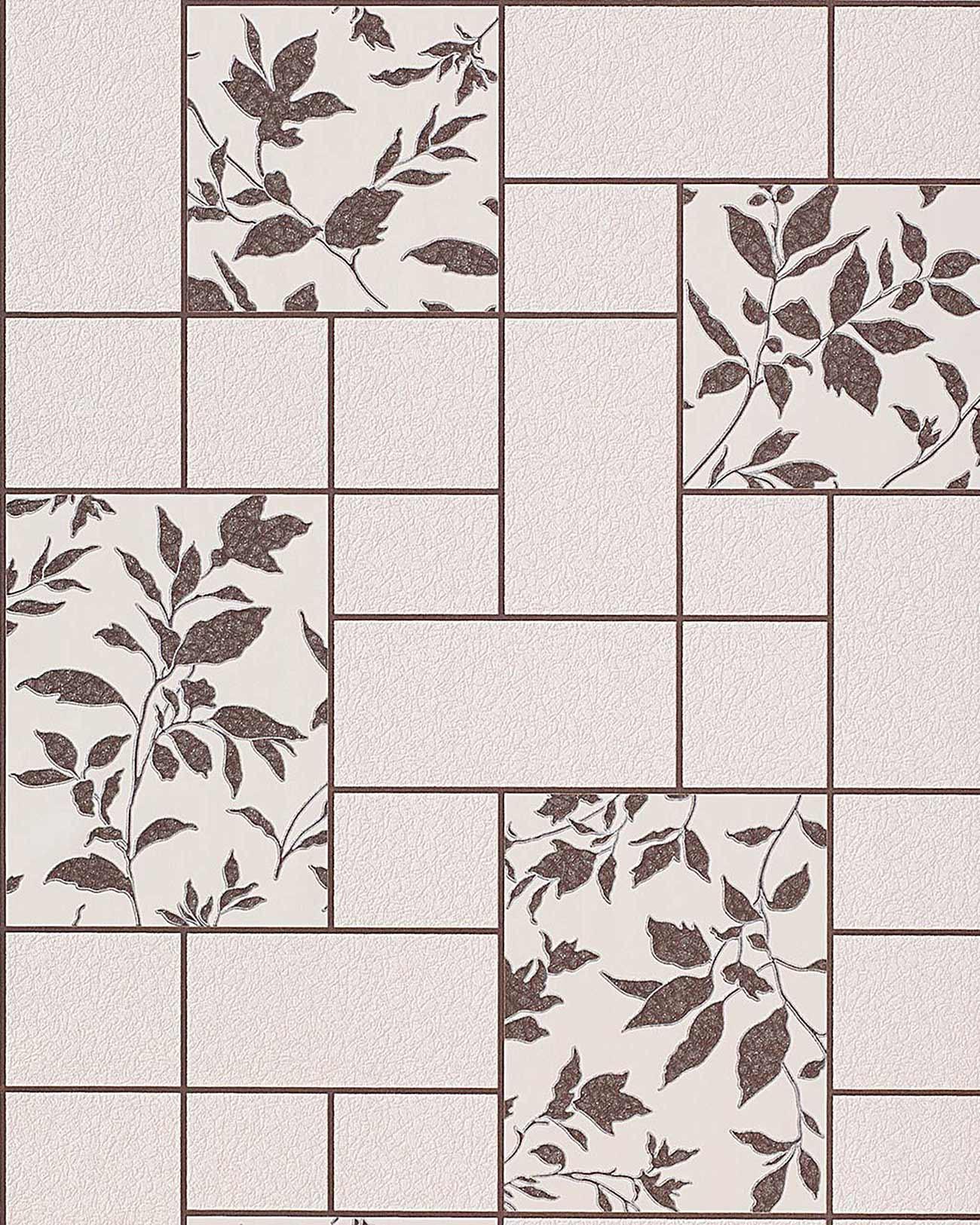 papel pintado con diseo floral de azulejos para cocina y bao edem en beige y marrn oscuro