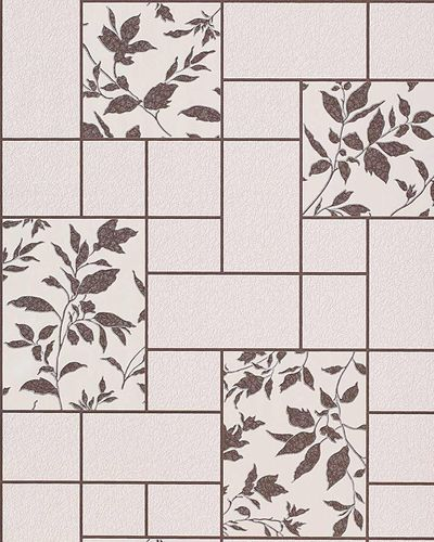 Wallpaper kitchen bath wall covering vinyl modern tile floral decor EDEM 146-23 beige cream brown  – Bild 1