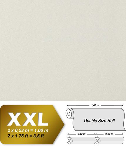 Luxury royal heavyweight non-woven wallpaper wall EDEM 982-40 wall covering plain embossed cream-white pearl-white  – Bild 1