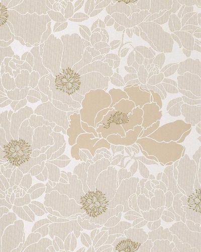 Wallpaper wall wallcovering flower floral vinyl EDEM 025-23 beige pearl white cocoa brown bronze  – Bild 1