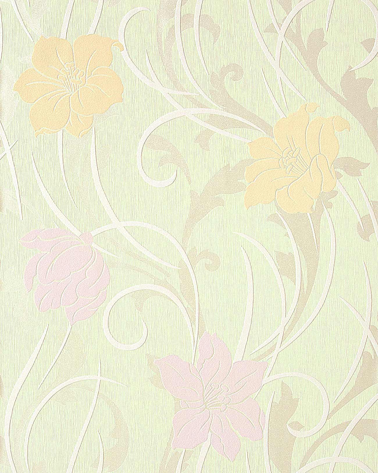 Blumen Tapete Landhaus EDEM 111 35 Stilvolle Floral Blumentapete  Vinyltapete Hell Grün Safran Gelb Hell Violett Weiß