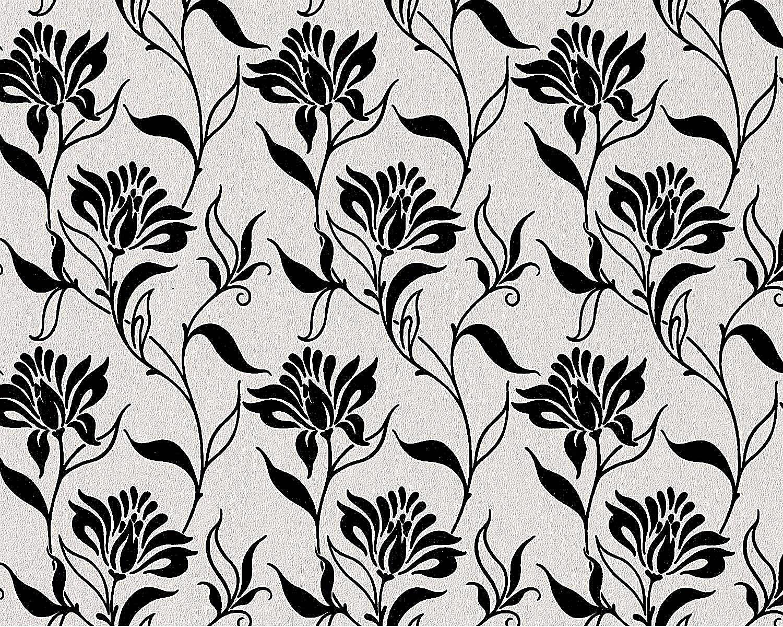 blumen tapete vliestapete edem 939 30 heigeprgete designer tapete florales muster schwarz wei - Tapete Schwarz Wei Muster