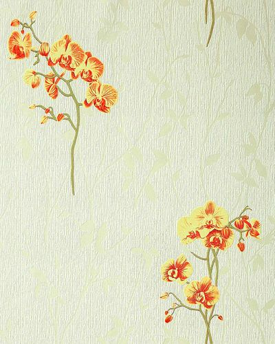 Wall covering floral pattern orchid wallpaper flowers EDEM 122-35 light green yellow red-orange green – Bild 1