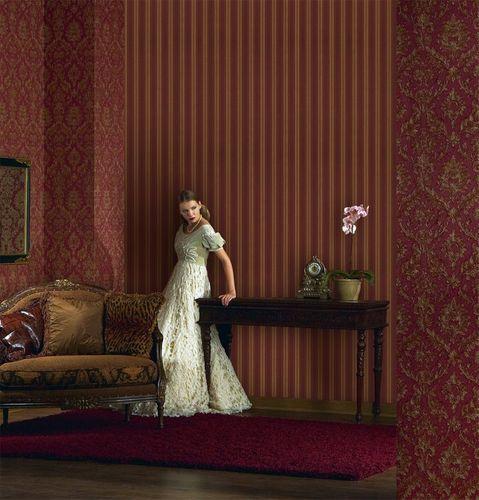 Carta da parati a righe barocco EDEM 709-36 damasco in rosso oro platino – Bild 2