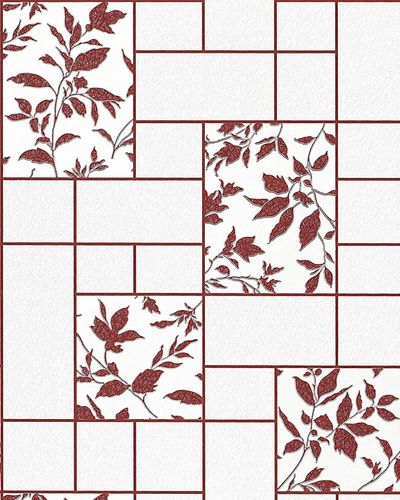 Wallpaper kitchen bath wall covering vinyl modern tile floral decor EDEM 146-24 white red maroon silver glitter  – Bild 1