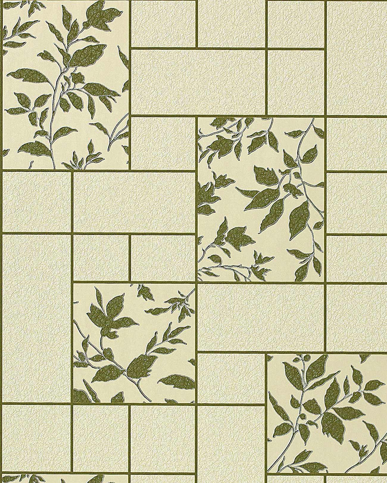 carta da parati per cucina edem 146 25 e bagno lavabile a piastrelle con fiori in verde beige verde oliva