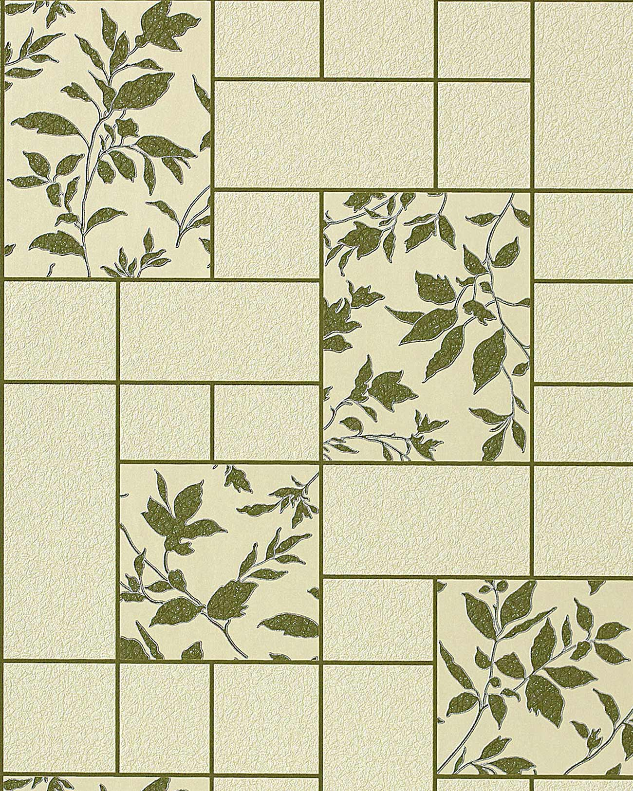Edem 146 25 Tile Floral Decor Kitchen Bath Vinyl Wallpaper Green