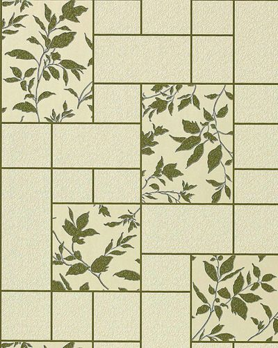 Wallpaper kitchen bath wall covering vinyl modern tile floral decor EDEM 146-25 beige-green olive silver glitter  – Bild 1