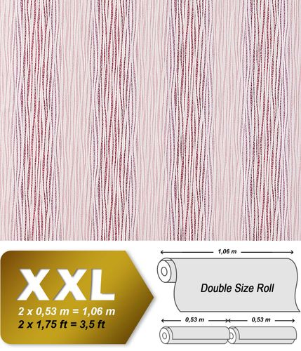Non-woven XXL wall wallpaper wallcovering deco stripes EDEM 675-93 light pink raspberry red white  – Bild 1