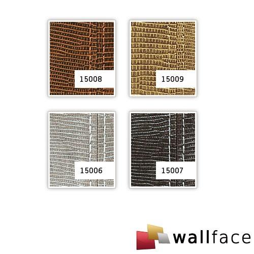 Panel decorativo autoadhesivo diseño piel iguana WallFace 15006 LEGUAN Con costura decorativa color beis plata 2,60 m2  – Imagen 4