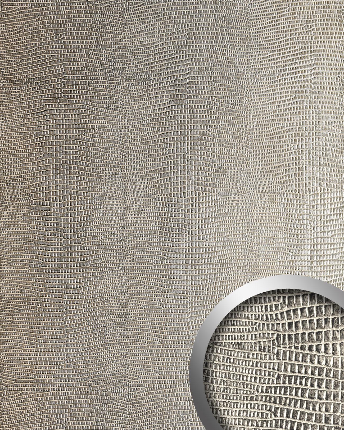 leguan design rev tement mural auto adh sif wallface 12893 aimantin simili cuir peau iguane gris. Black Bedroom Furniture Sets. Home Design Ideas