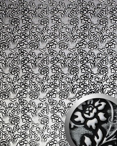 Wallcoverings leather imitation baroque WallFace 13412 FLORAL flower interior decor self-adhesive black silver 2,60 sqm – Bild 1