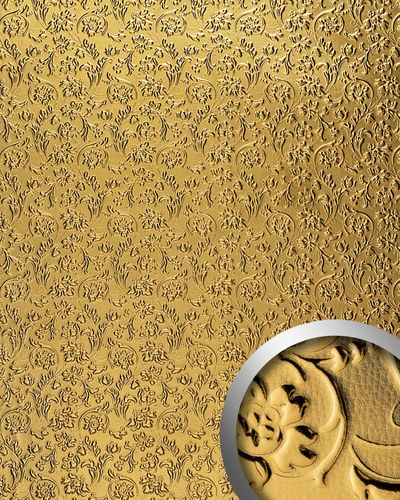 Wall panel leather baroque flower interior decorWallFace 14267 FLORAL decor panel self-adhesive gold 2,60 sqm – Bild 1