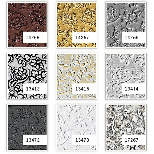 Wall panel leather baroque flower interior decoWallFace 14266 FLORAL decor panel self-adhesive platin-grey 2,60 sqm – Bild 2
