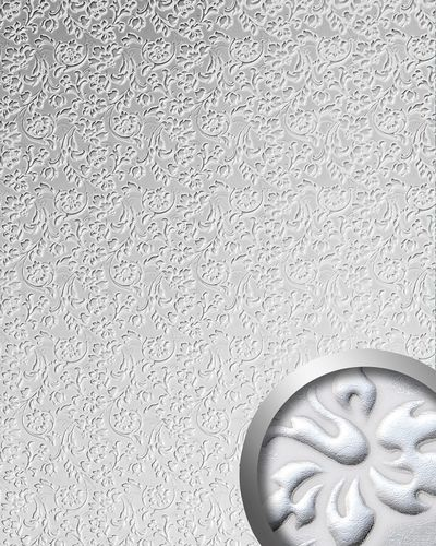 Wallcoverings leather baroque FallFace 13414 FLORAL flower interior wall cover decor self-adhesive white silver 2,60 sqm – Bild 1