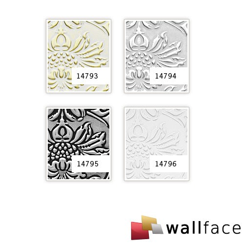 Panel decorativo autoadhesivo polipiel diseño barroco WallFace 14795 IMPERIAL Damasco relieve 3D negro plata 2,60 m2  – Imagen 4