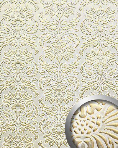 Panel decorativo autoadhesivo polipiel diseño barroco WallFace 14793 IMPERIAL Damasco relieve 3D blanco oro 2,60 m2  – Imagen 1