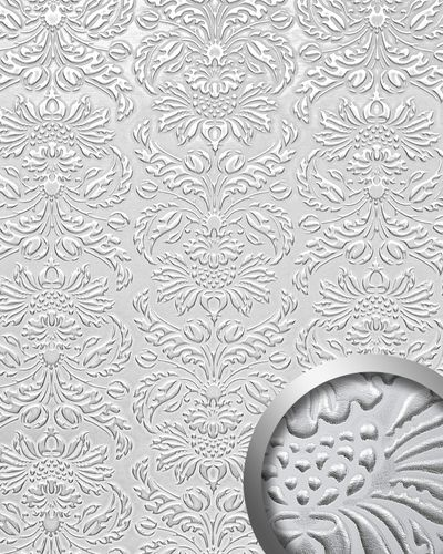 Panel decorativo autoadhesivo polipiel diseño barroco WallFace 14794 IMPERIAL Damasco relieve 3D blanco plata 2,60 m2  – Imagen 1