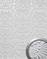 Wandpaneel 14794 IMPERIAL Barock Damask Leder 3D Optik Silber Weiß 001