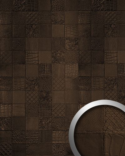 Wall paneling leather 3D interior WallFace 15038 COLLAGE decor panel decoration self-adhesive mocca-brown 2,60 sqm – Bild 1