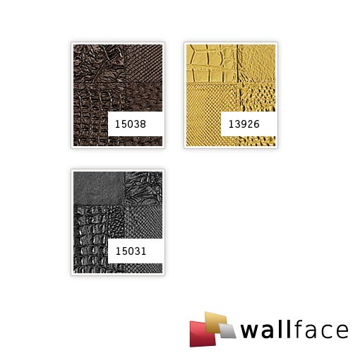 3D Panel decorativo autoadhesivo polipiel de diseño WallFace 15031 COLLAGE Mosaico relieve negro mate 2,60 m2  – Imagen 2