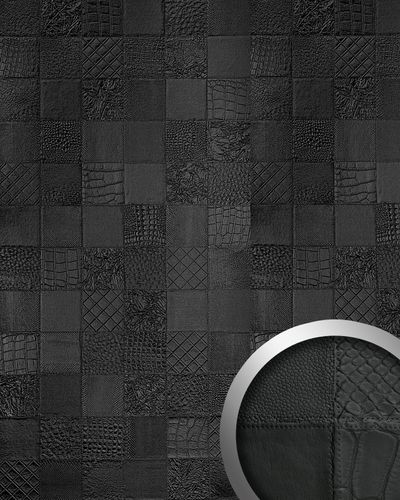 3D Panel decorativo autoadhesivo polipiel de diseño WallFace 15031 COLLAGE Mosaico relieve negro mate 2,60 m2  – Imagen 1
