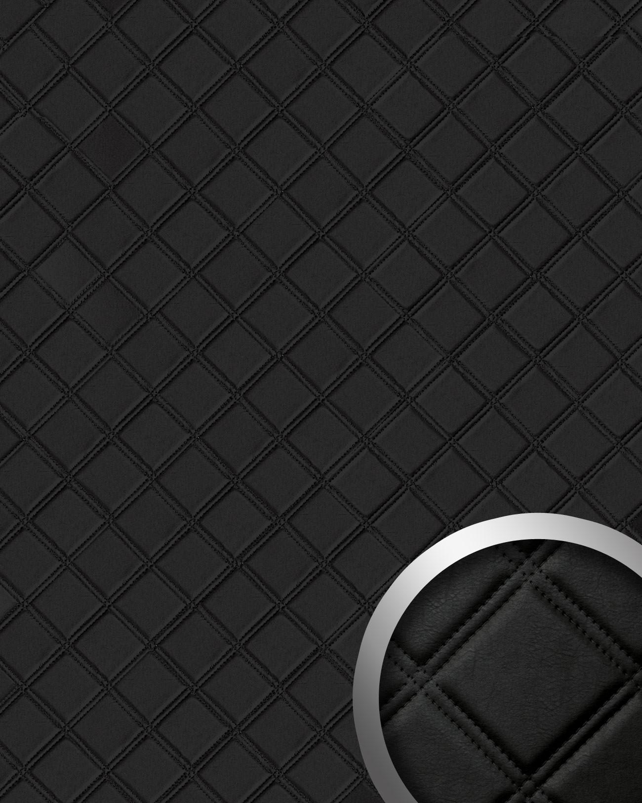 wallface 15030 rombo design wand paneel leder karo 3d dekor schwarz 2 60 qm ebay. Black Bedroom Furniture Sets. Home Design Ideas