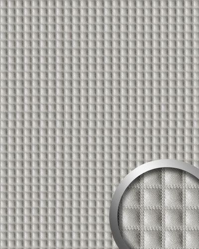 Wandpaneel Quadrat Leder Luxus 3D Blickfang WallFace 16422 QUADRO Dekor selbstklebende Tapete silber-grau | 2,60 qm – Bild 1