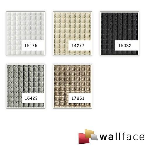 Wandpaneel Quadrat Leder Luxus 3D Blickfang WallFace 16422 QUADRO Dekor selbstklebende Tapete silber-grau | 2,60 qm – Bild 2