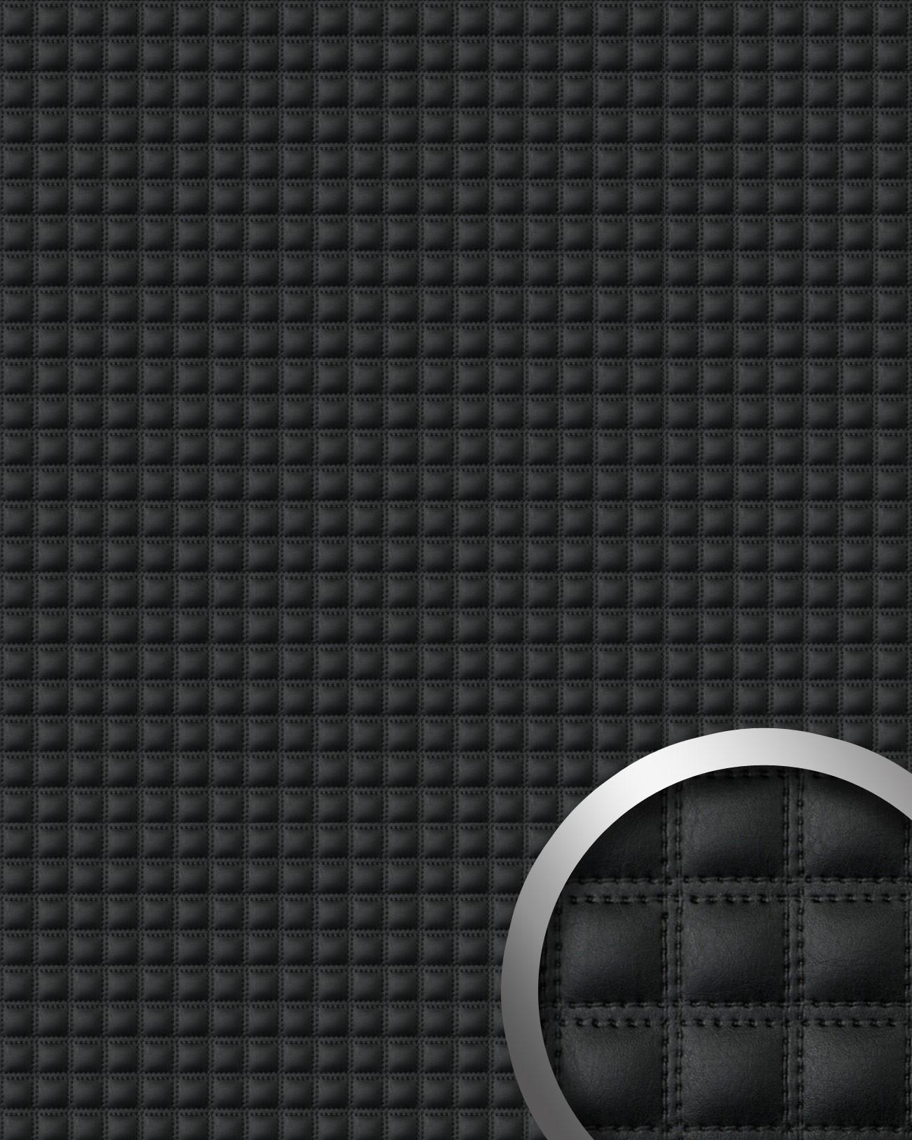 Papier Peint Capitonné Gris revêtement mural de design auto-adhésif wallface 15032 quadro simili cuir  capitonné effet de coutures noir 2,60 m2 | boutique en ligne profhome.fr