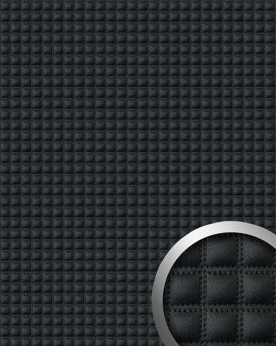 Wandpaneel Quadrat Leder WallFace 15032 QUADRO Luxus Blickfang EyeCatch Dekor selbstklebende Tapete schwarz | 2,60 qm – Bild 1
