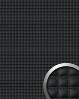 Dekorpaneel 15032 quadro Leder Quadrat Gesteppt 3D Optik Schwarz