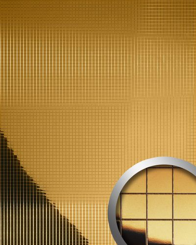 Wall paneling wall decor plate eyecatch WallFace 10581 M-STYLE design paneling metallized mosaic mirror gold 0,96 sqm – Bild 1