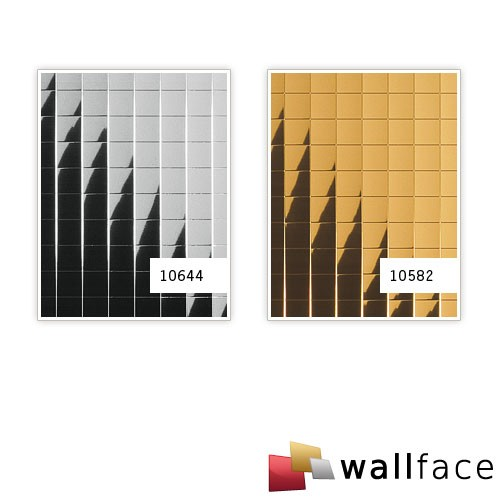 Wall paneling eyecatch decor WallFace 10582 M-STYLE design paneling  self-adhesive metal mosaic mirror gold 0,96 sqm – Bild 3