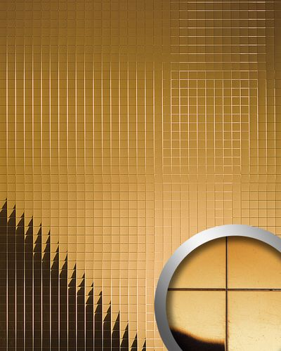 Wall paneling eyecatch decor WallFace 10582 M-STYLE design paneling  self-adhesive metal mosaic mirror gold 0,96 sqm – Bild 1